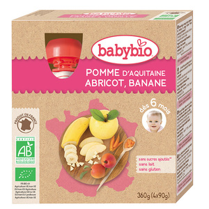 Mes Fruits Gourde Pomme Abricot Banane Bio 4x90 G BABYBIO