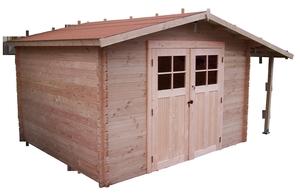 Abri de jardin ATLAS avec récupérateur eau, bûcher et plancher / livré
