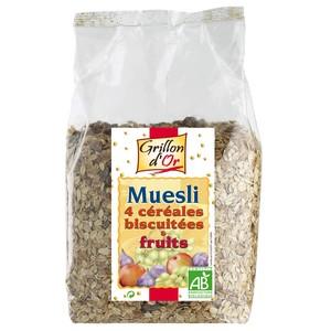 Muesli 4 céréales biscuitées et fruits GRILLON D'OR