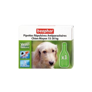 Pipettes chien 15-30kg x3 antiparasitaires Beaphar