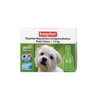 Pipettes chien 2 à 15Kg x3 antiparasitaires Beaphar