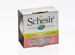 Boîte pour chat Schesir Poulet Crevettes + bouillon 70 g