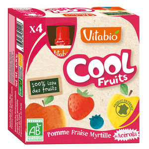 Cool Fruits Bio Pomme-Fraise-Myrtille 4 X 90 G VITABIO 159809