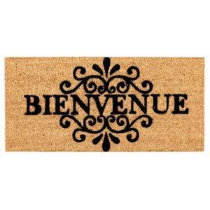 Paillasson « Bienvenue » en fibres de coco marron - 70 x 33 cm