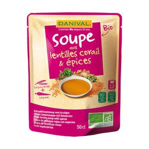 Soupe bio lentilles corail et épices 50 cl