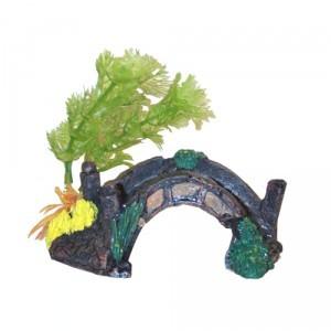 Décor aquarium pont avec arbre 13 cm