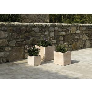Pot carré contemporain en terre claire 32x32x32 cm
