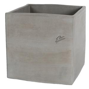 Pot carré contemporain en terre grise 24x24x24 cm