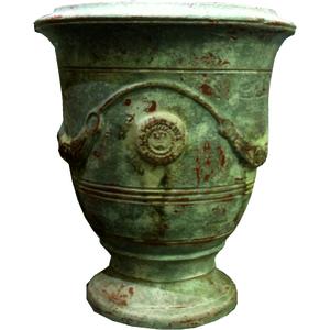 Vase Anduze patine grise en terre cuite émaillée H 55 x Ø 45 cm