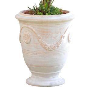Vase Anduze cérusé en terre cuite H 68 x Ø 53 cm