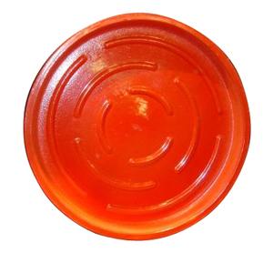 Soucoupe ronde en terre cuite émaillée rouge D.40