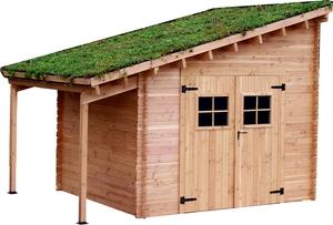 Abri de jardin FLORA avec toit végétalisé et bûcher / livré