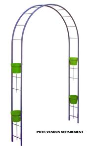 Arche de jardin étroite avec cercles pour pots lilas