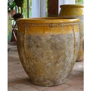 Bugadier à col émaillé jaune en terre cuite émaillée H 57 x Ø 57 cm