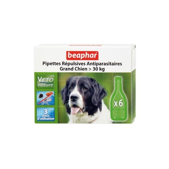 Antiparasitaire chien30kg x6 pipettes Beaphar
