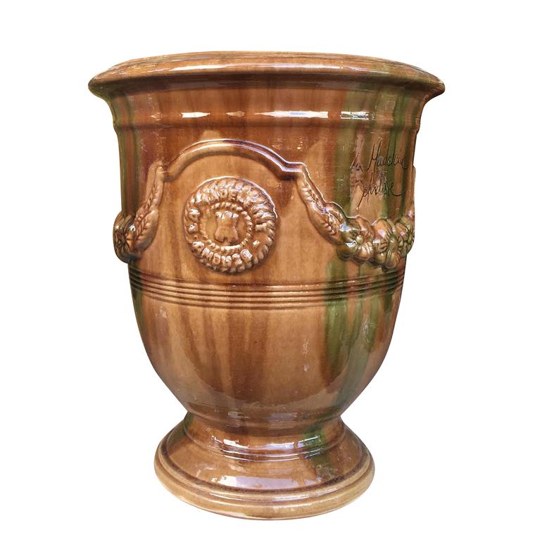 Vase Anduze flammé en terre cuite émaillée H 38 x Ø 43 cm