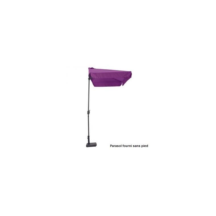 Demi parasol rectangulaire aubergine 2,30 m x 1,30 m