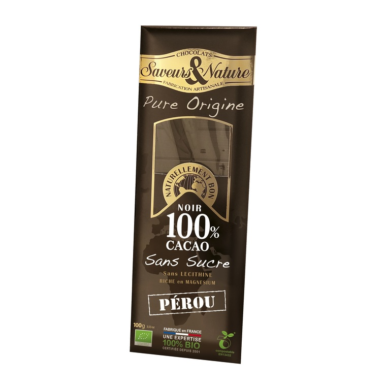 Tablette de chocolat noir 100% Pérou - 100 g 120820