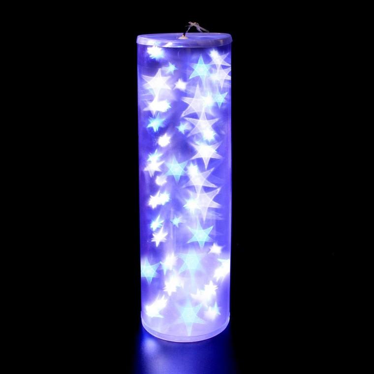 Cylindre holographique blanc et bleu 48cm 122058