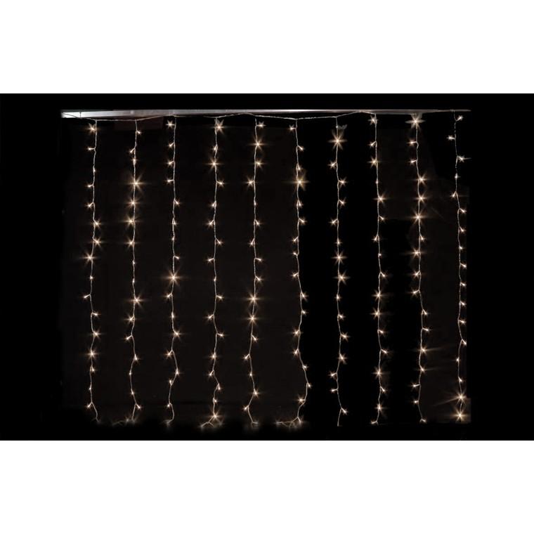 Rideau lumineux blanc chaud 200 LED avec animateur 8 fonctions 2 m 171033