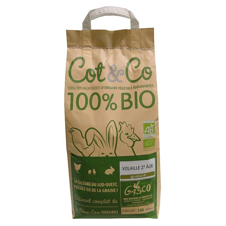 Alimentation volaille 2ème âge granulés bio COT & CO 5 kg 183278