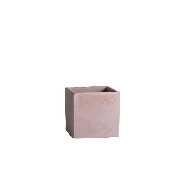 Pot carré contemporain en terre claire 24x24x24 cm 187962