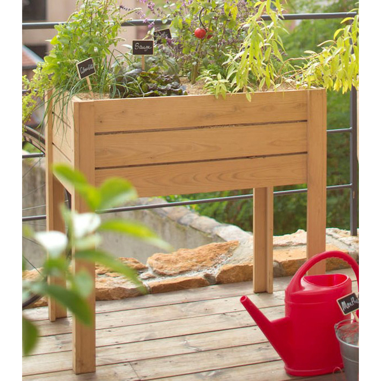 potager sur lev en bois de chataignier l 80 x l 50 x h 80. Black Bedroom Furniture Sets. Home Design Ideas