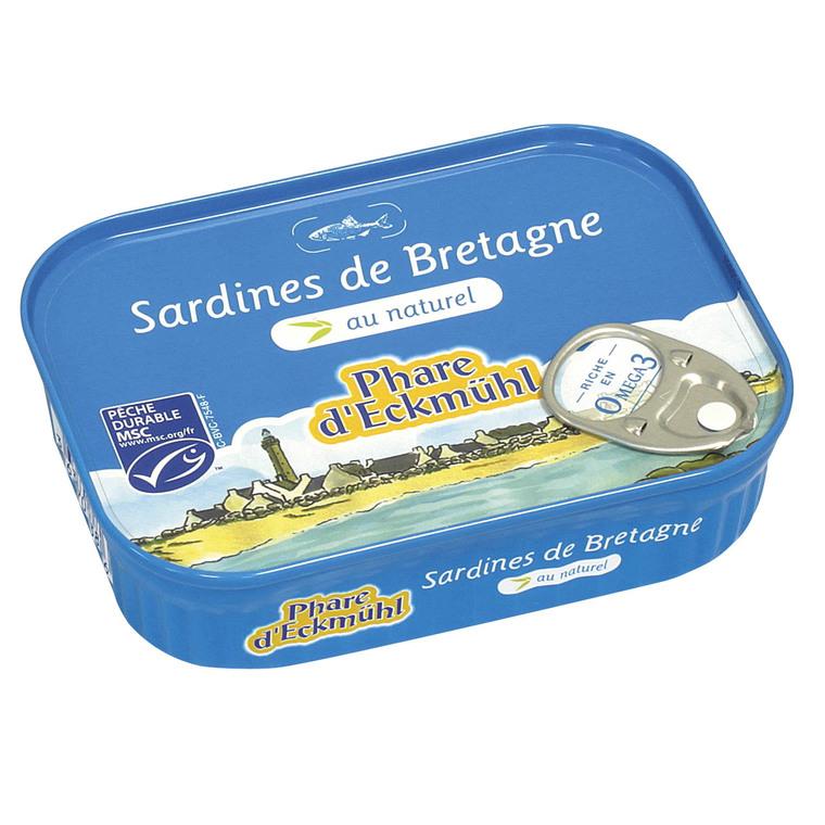 Sardines au naturel.135 g PHARE D'ECKMÜHL
