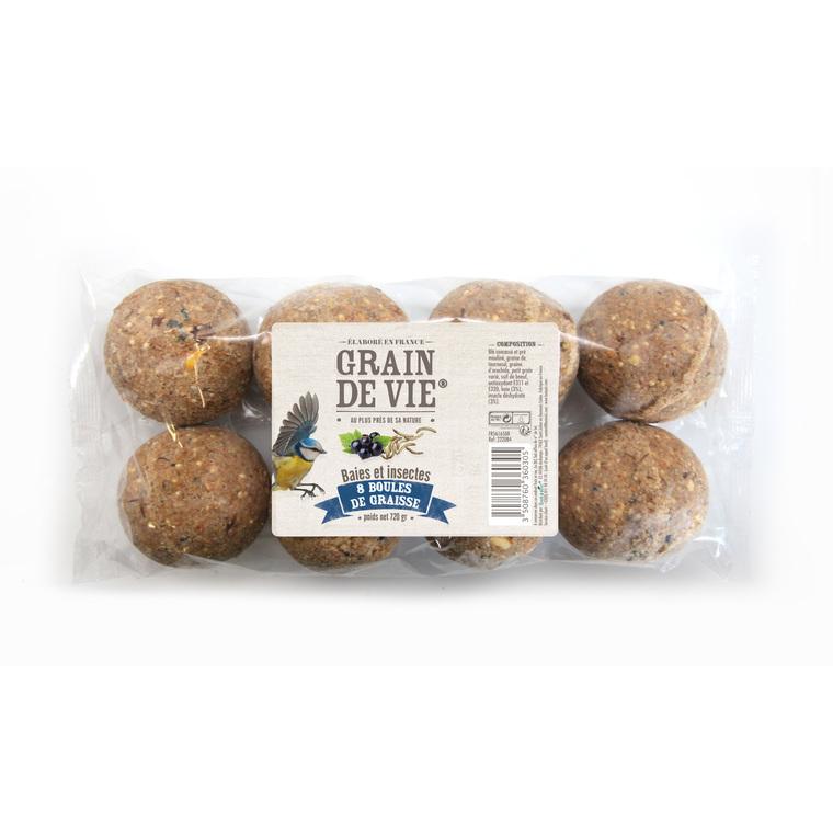 8 boules de graisse découverte – baies insectes 720 g
