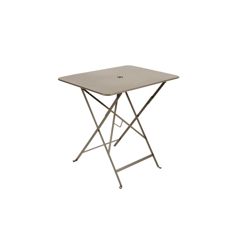 Table pliante en m tal bistro couleur muscade l77xl57xh74 - Table pliante metal ...