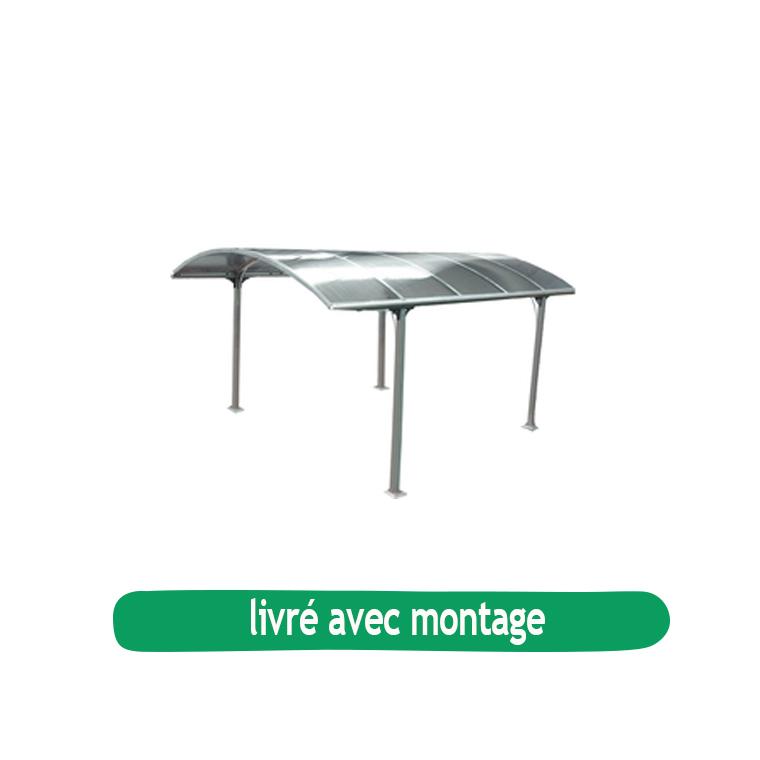 Carport en aluminium toit arrondi en polycarbonate / livré et monté