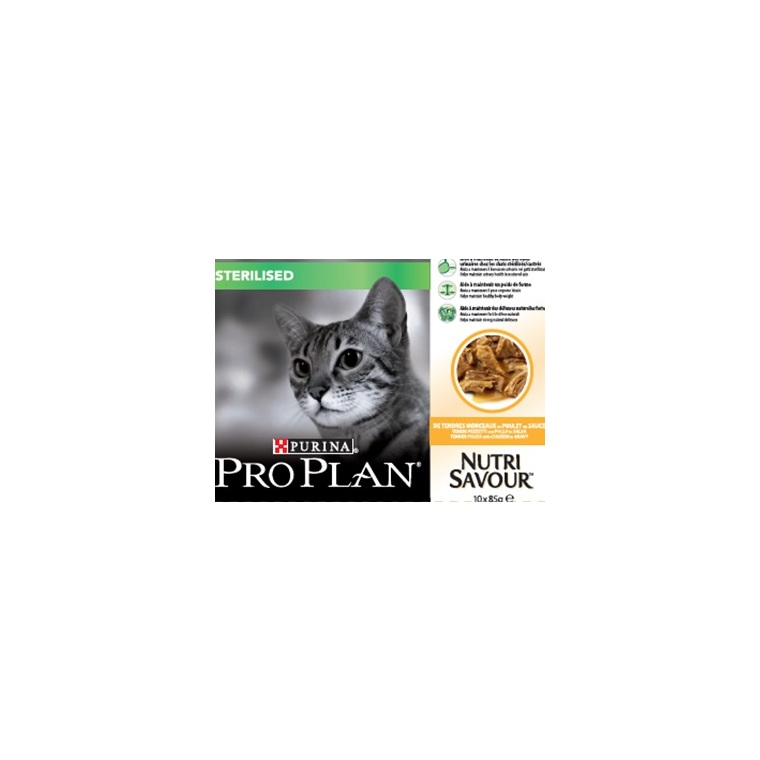 Pack de sachets au poulet pour chat stérilisé Purina Pro Plan – 10 x 85 gr