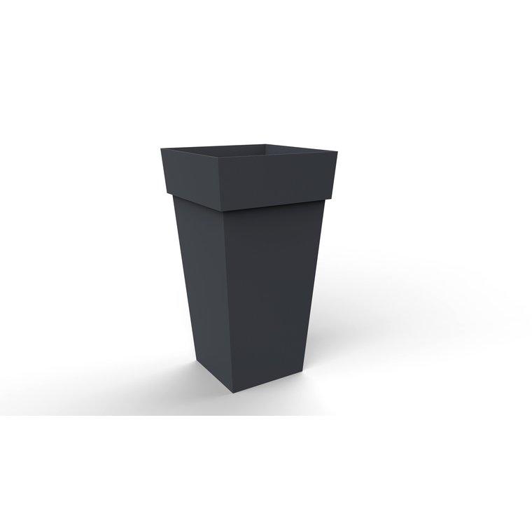 Pot TOSCANE carré haut XXL gris anthracite H.80 cm
