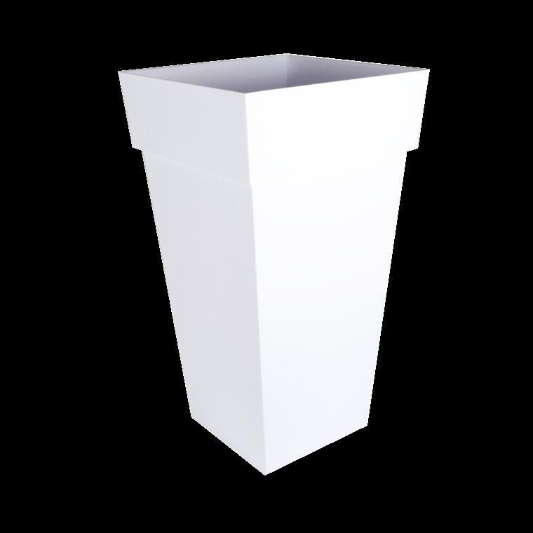 Pot TOSCANE carré haut XXL blanc H.80 cm