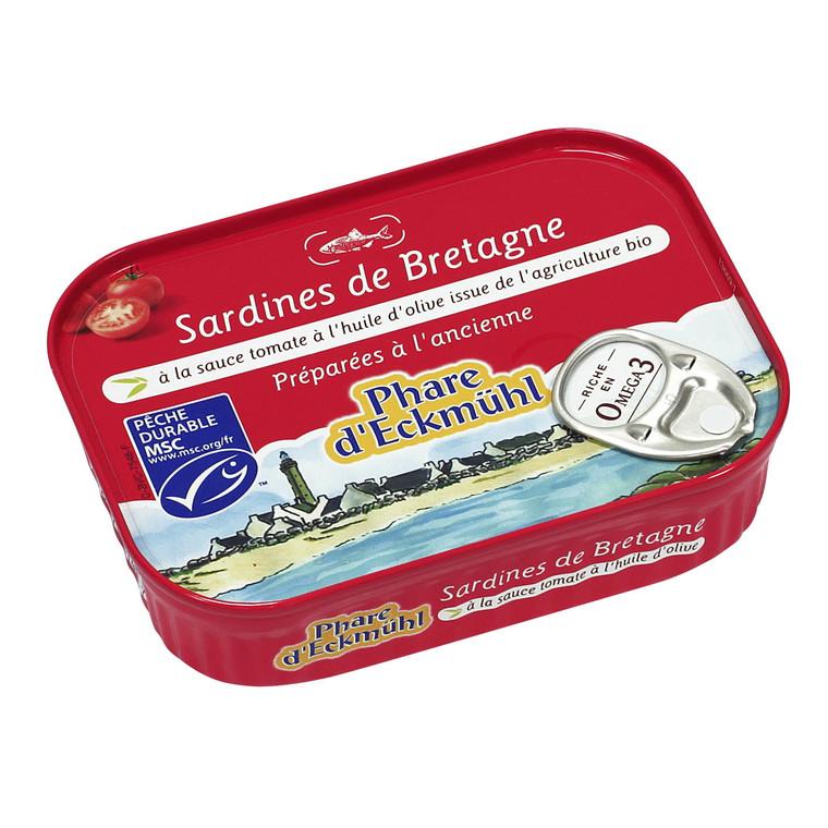 Sardines eckmuhl à l'huile d'olive et tomate bio en boite de 135 g