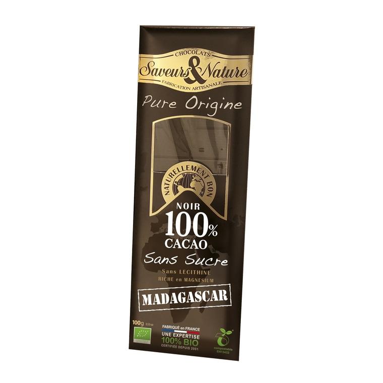 Tablette de chocolat noir 100% Madagascar - 100 g