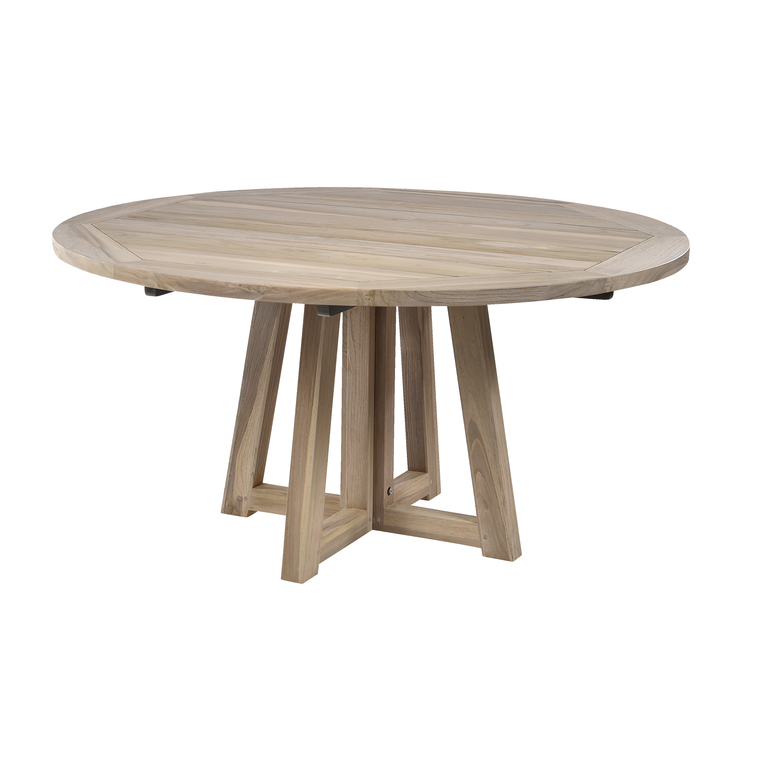 Table altea en teck bross gris botanic - Table ronde teck ...
