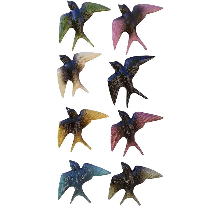 Hirondelles assorties unies 17 cm