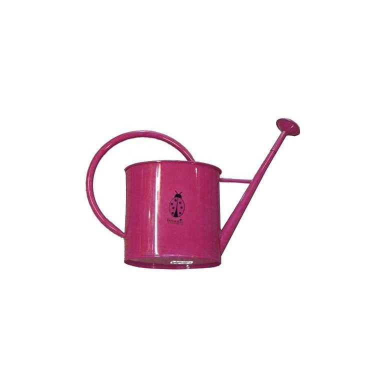 Arrosoir métallique rond avec pomme pour enfant rose