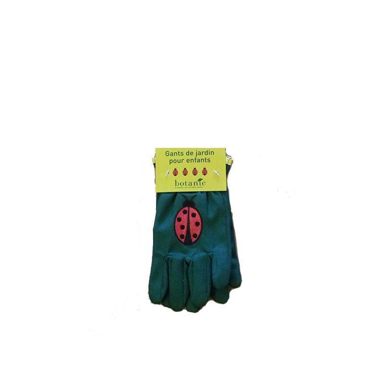 Gants de jardinage pour enfant motif coccinelle vert foncé