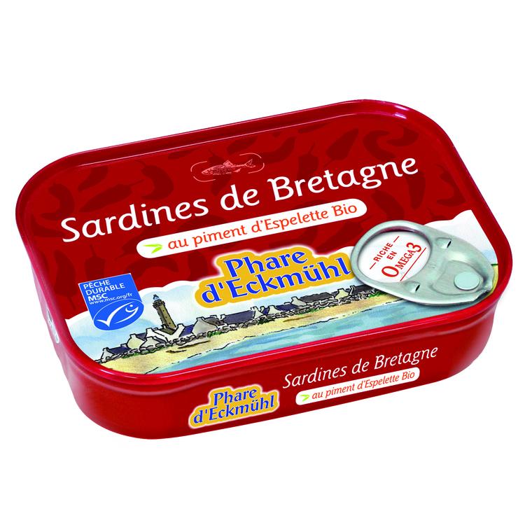 Sardines eckmuhl au piment d'Espelette bio en boite de 135 g