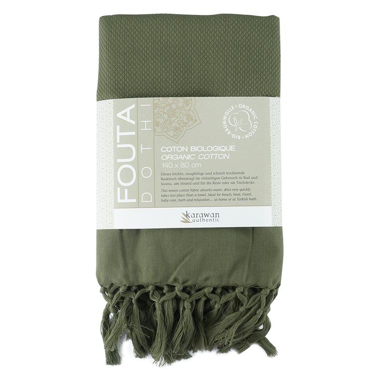 Fouta KOCHI Olive – Coton BIO 80 x 140 KARAWAN