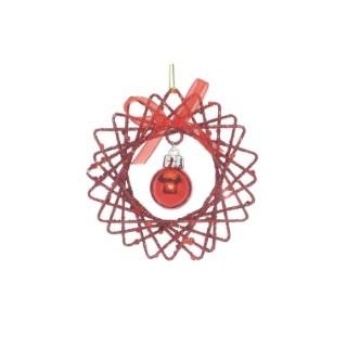Fleur pailletée rouge avec boule à suspendre 215912