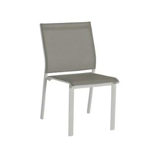 Chaise de jardin en aluminium Agate blanc et taupe