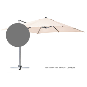 Toile pour parasol déporté 300 cm x 300 cm gris