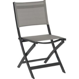 Chaise pliante JOE aluminium et textilène gris