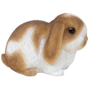 Statue de jardin petit lapin marron et blanc 16,5 x 10 x 10,5 cm 226094