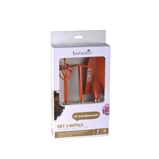 Lot 3 outils de jardinage orange