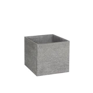 Pot carré bas STREAM S/4 gris clair H.38 cm