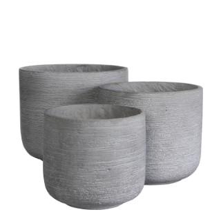 Pot rond STREAM Gris clair Ø.26 x H.23,5 cm